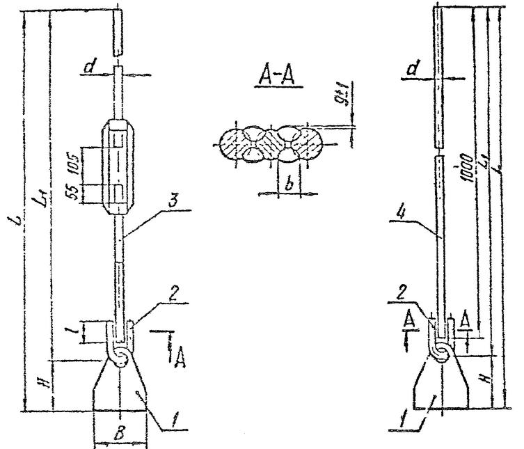 Чертеж блока с проушиной в двух исполнениях (с резьбовыми и гладкими тягами)