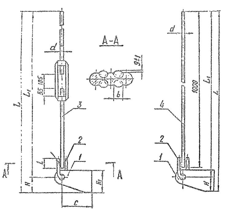 Чертеж блока подвески с плавником в двух исполнениях (с резьбовыми и гладкими тягами)